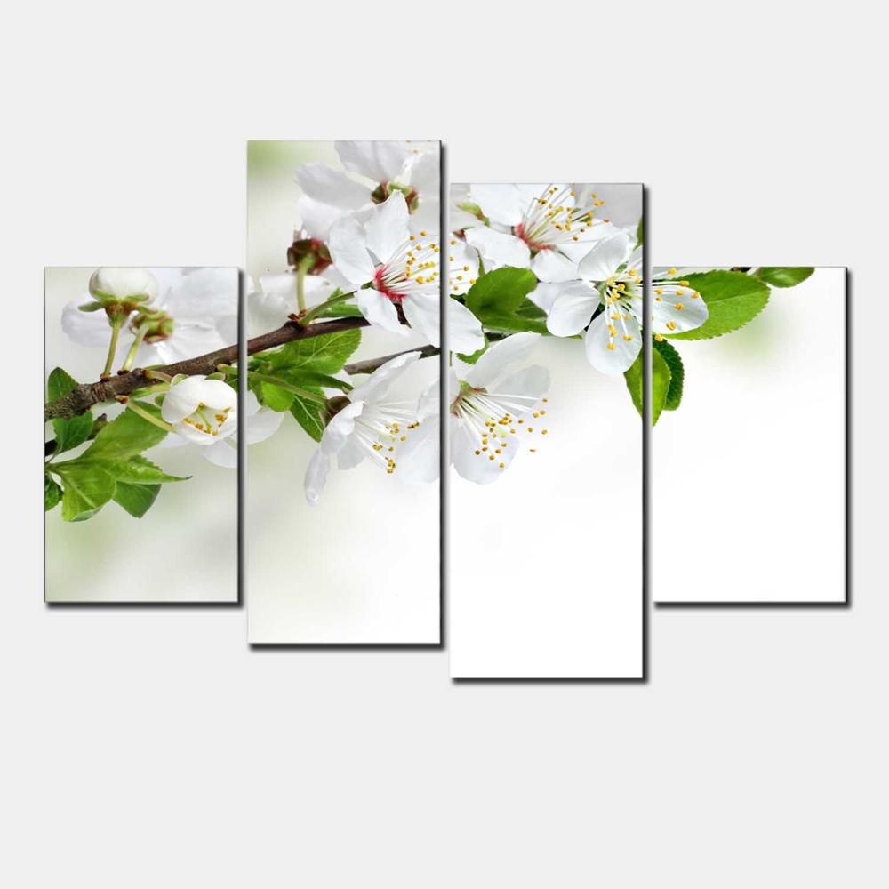 New Modular Pictures Unframed 4 Panel White Pear Blossom Flower Larage HD Print modular paintings Modern Oil modular paintings F