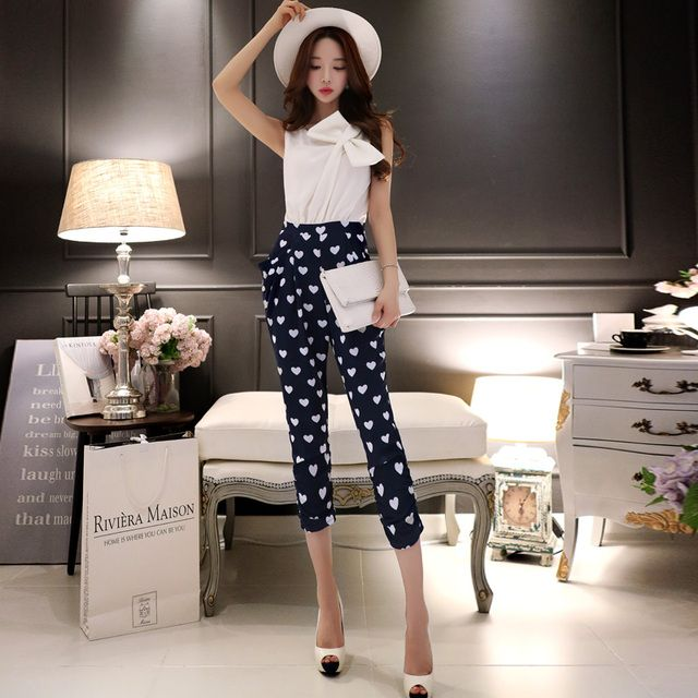Original 2016 Brand Combinaison Femme High Quality Summer Runway Plus Size  Elegant Navy Blue Printed Jumpsuits Women Wholesale
