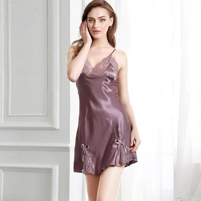 2017 Summer New Sleep Dress Mini Women Sleepwear Lace Sexy lingerie Set Nightwear Satin Nightgowns Female Sleeveless pyjamas
