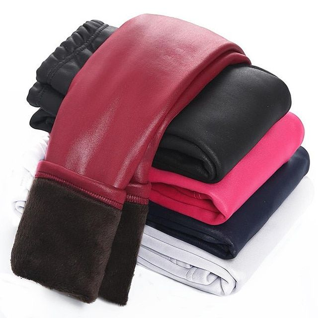 2017 Baby Girls Leggings Winter Kids Thick Velvet Leggings Pencil Pants Children Warm Trousers Faux PU Leather Legging Slim Pant