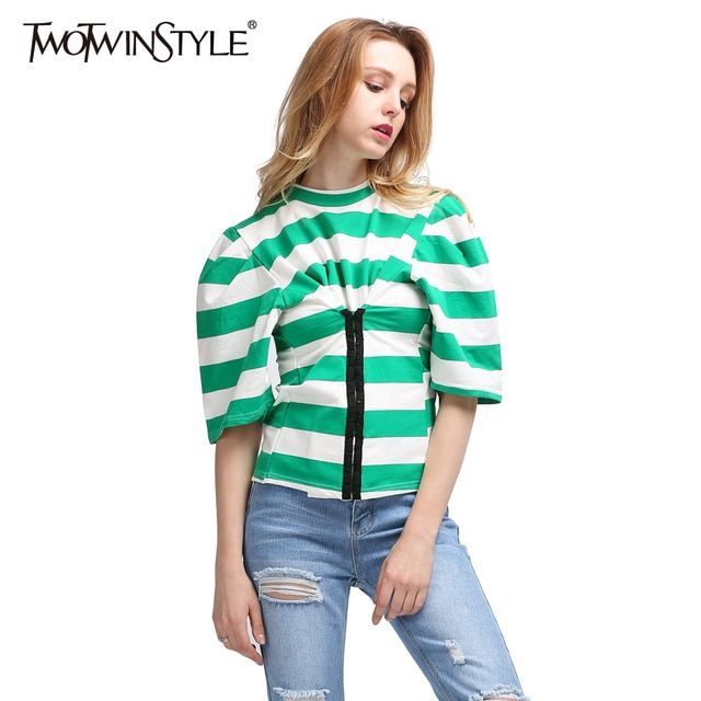 TWOTWINSTYLE Striped Female T-shirt Hooks Buckle Tunic Tops 2017 Summer Short Sleeves Women's T-shirts Casual Clothing Korean
