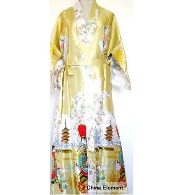 "HOT SELL New Chinese Women's Silk Satin kimono robe gown Nightwear lake peafowl size S/M/L/XL/XXL/XXXL""LGD S0016-B """