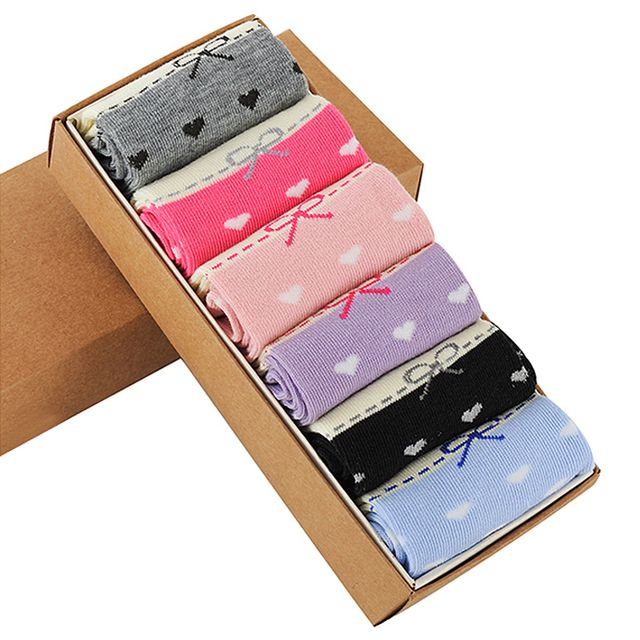 Fashion Autumn Winter Women Love Heart Prints Candy Color Sock Suits Size 35 To 42 Casual Comfortable Cotton Socks Free Shipping