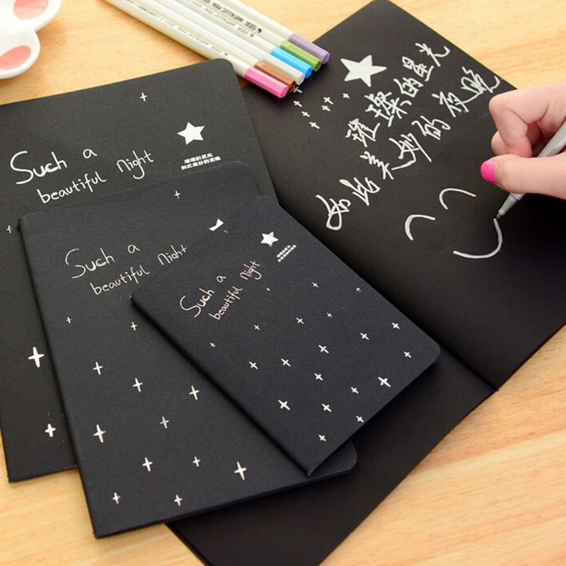 Black Paper Notebook Diary Notepad Sketch Graffiti Notebook for Drawing Painting Office School Stationery Gifts 16K 32K 56K