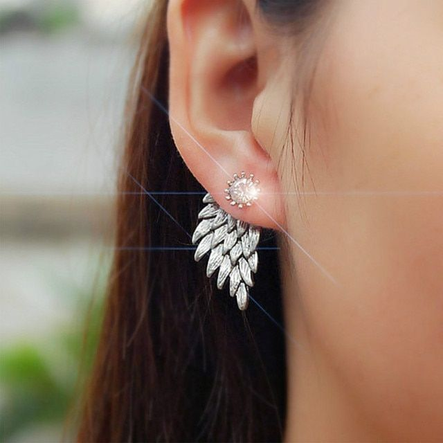New Fashion Gift Lady Earring Party Jewelry Earrings Gold And Silver Gothic Cool Angel Wing Rhinestones Alloy Earrings For Women