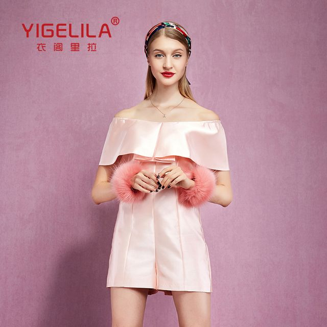 YIGELILA 5250 Latest New Women Summer Sexy Slash Neck Ruffles Solid Fashion Jumpsuit