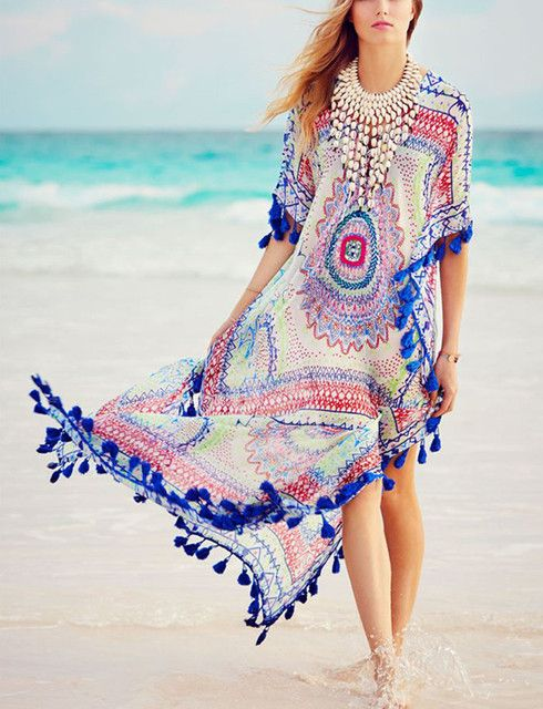 Saida de praia 2016 Chiffon Cover Up National Print Beach Dress Sexy Tassel Bikini Cover Ups Robe de plage Pareo