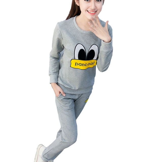 tracksuit women  Kawaii Fitness-sleeved sweatshirt Girl Pure Cotton Two-piece Leisure Long-sleeved Fleece Mujer Plus Size Women