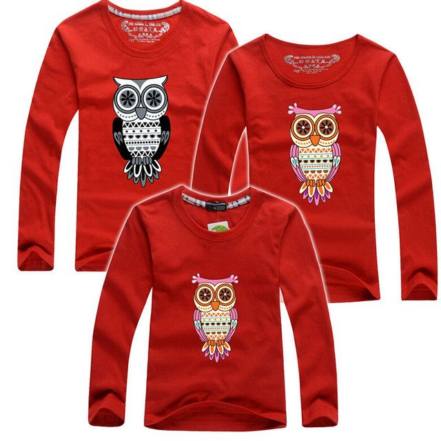 Free Shipping 1PC Family T Shirts Sets Mom And Son Dad And Daughter Autumn O-Neck Long Sleeved Fitted Cotton Children's