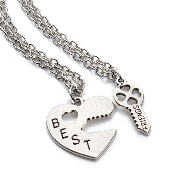 2016 New Fashion Vintage Silver Color Key Puzzle Best Friends Necklace For Women Lover Jewelry Wholesale F2952