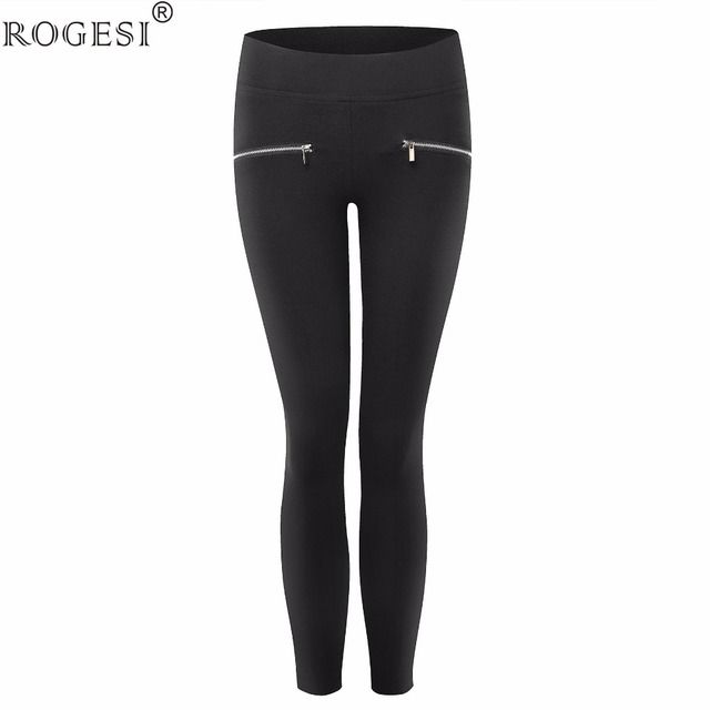 2016 Skinny Trousers Solid Bottom Slim Women Pants Tight Casual Zippers Front Camouflage Pants Stretchable