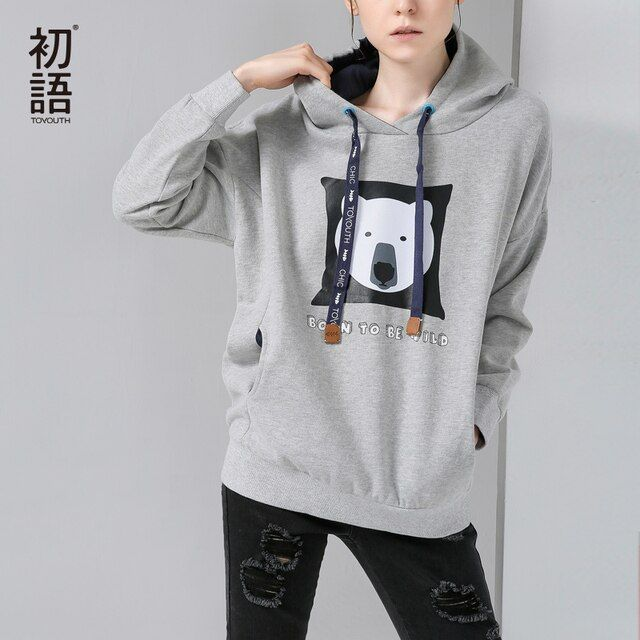 Toyouth 2017 Women Spring Fashion Cartoon Print Sweatshirts Female Casual O-Neck Pullovers Long Sleeve Sweatshirts
