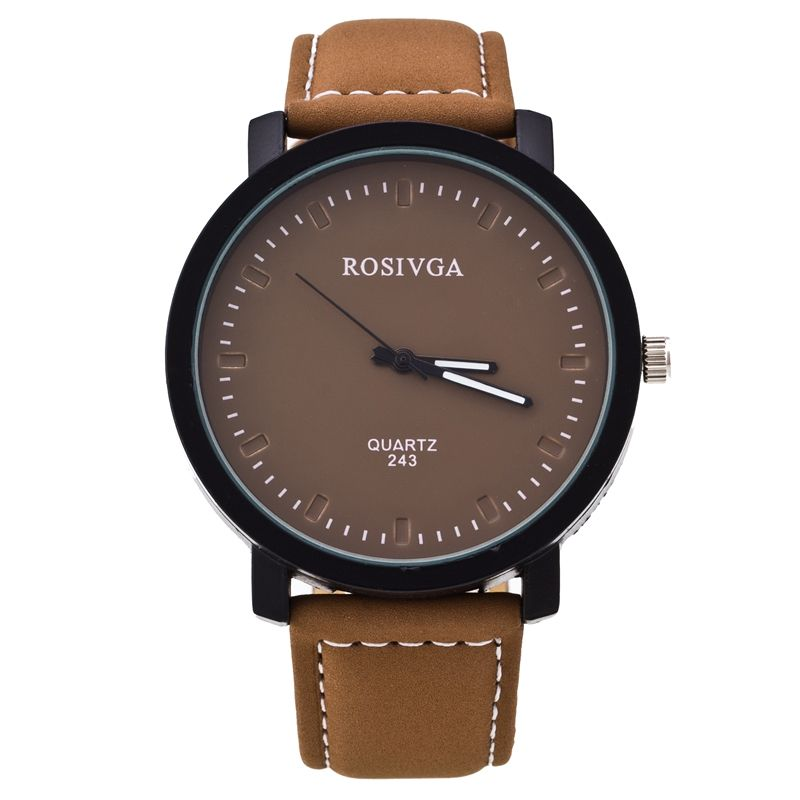 Men's Rosivga watch pu Leather Sports Military Quartz Watches Women Men Out Door Fashion Style Big Round Dial Analog Wristwatch