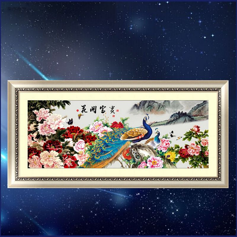 Traditional Chinese patterns 5d round diamond embroidery peacocks peony Blooming flowers rhinestone mosaic set diamond painting
