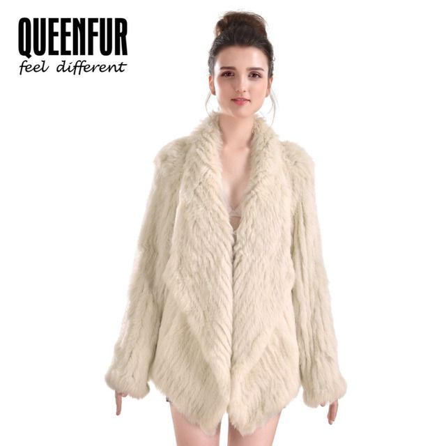 Women Rabbit Fur Jacket Fashion Genuine Knitted Rabbit Fur Coat 2017 New Natural Fur Irregular Long Sleeves Outwear