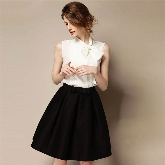 High Quality 2017 New Women's OL Retro Bow Skirts Autumn Winter Fashion High Waist Knee-length A-line Skirt Bust Skirt S-XXL