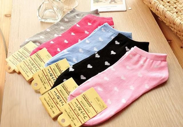 High Quality Woman brand business boat socks short socks love dot cute tube socks 1pair free shipping