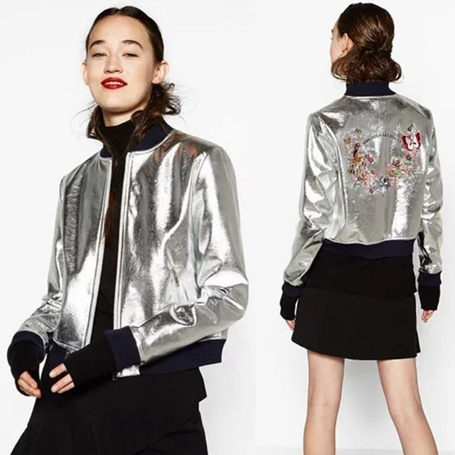 Women Embroidered Silver Casual Baseball Zipper Cardigan Jacket Outerwear Coat