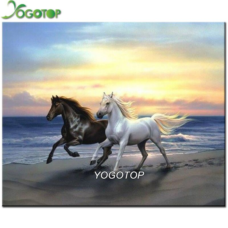 100% Full Resin Square 5D Pastd Diamond Painting Neeedlework Craft Embroidery Diamond mosaic Black white horse AX034
