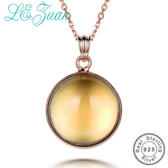 L&zuan Natural Citrine Round Necklace & Pendant for Women 925 Sterling Silver Fine Jewelry Choker Necklace