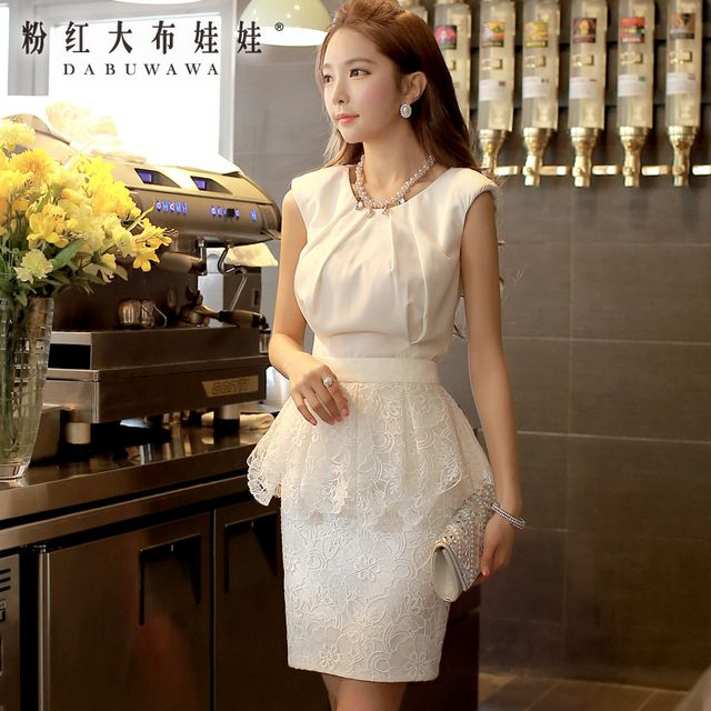 dabuwawa summer skirt 2016 new fashion vintage casual short lace slim hip ruffled skirts women white pink doll