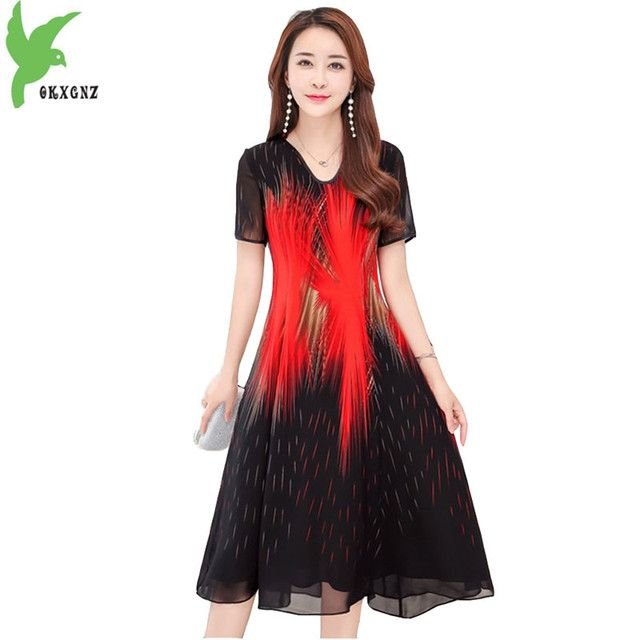 New Summer Middle-aged Mother Clothing Chiffon Dress Short sleeve Print Dress Slim Plus Size Casual Big swing Dress OKXGNZ A536