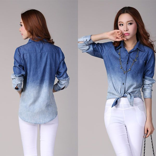 Women's Denim Button Down Shirt Long Sleeve Gradient Color Jeans Blouse Tops 2016