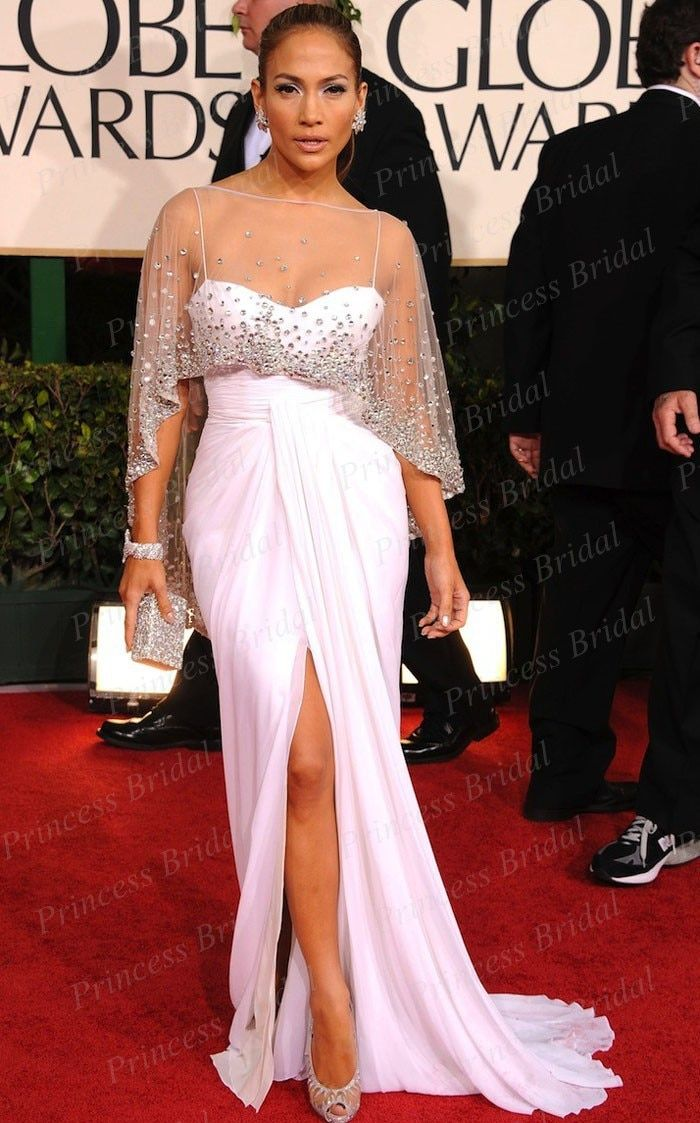 Sexy Sweetheart Spaghetti Strap Beaded Jennifer Lopez White Dress at 2011 Golden Globe Awards Red Carpet Dress With Wrap CE1654