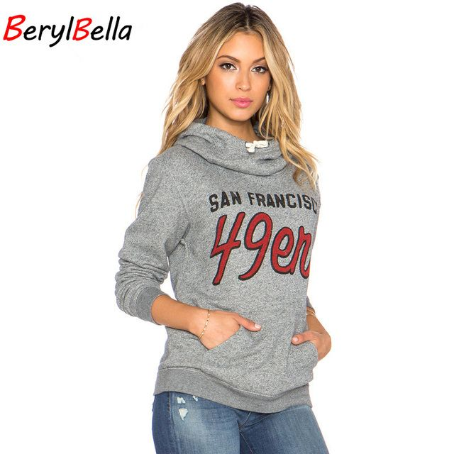 2016 Autumn Women's Hoodies Retro Letters Printed Gray Coat New Fashion Female Long-Sleeved Sweatshirts With Pockets Pluse Size