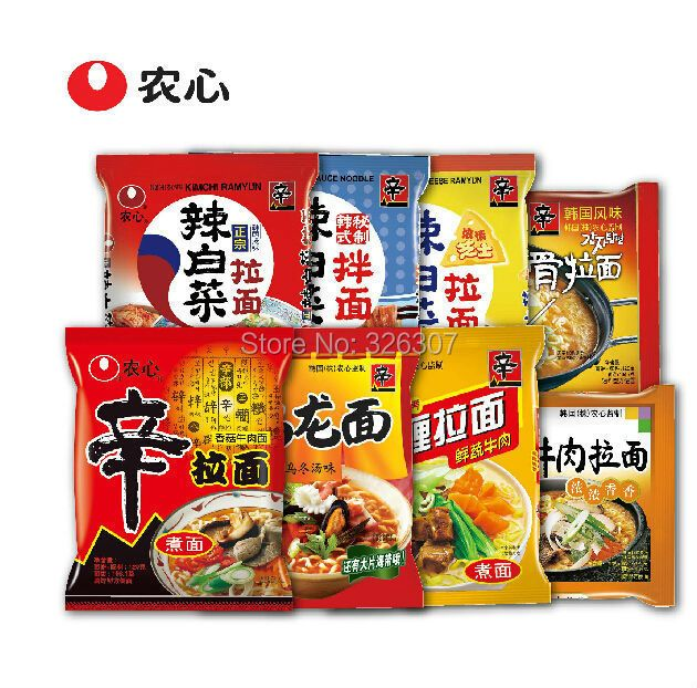 Korean food NongShim Shin overflow family stone bowl beef/pasta/potato noodles/hot cabbage instant stretched noodles 8bags