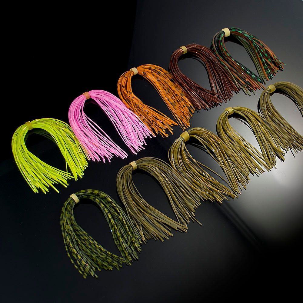 10 bundles, 40 strands, Silicone Skirts Fishing Accessories, DIY spinnerbatis buzzbaits rubber jig lures, squid rubber skirt