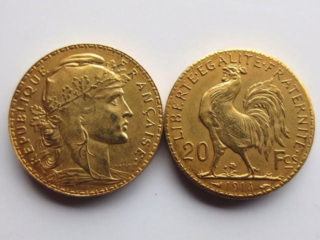 France 20 Francs 1914 Rooster 24K Gold Copy Coin Free Shipping