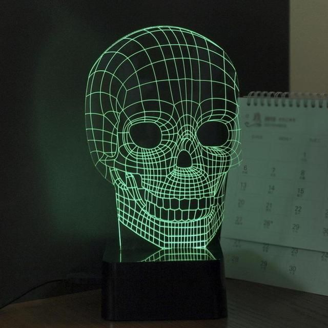 3D RGB Cranial Skeleton Head Dimmer Table Lamp Acrylic LED Night Light Micro USB Desk Lamp Personality Small Night Lamp
