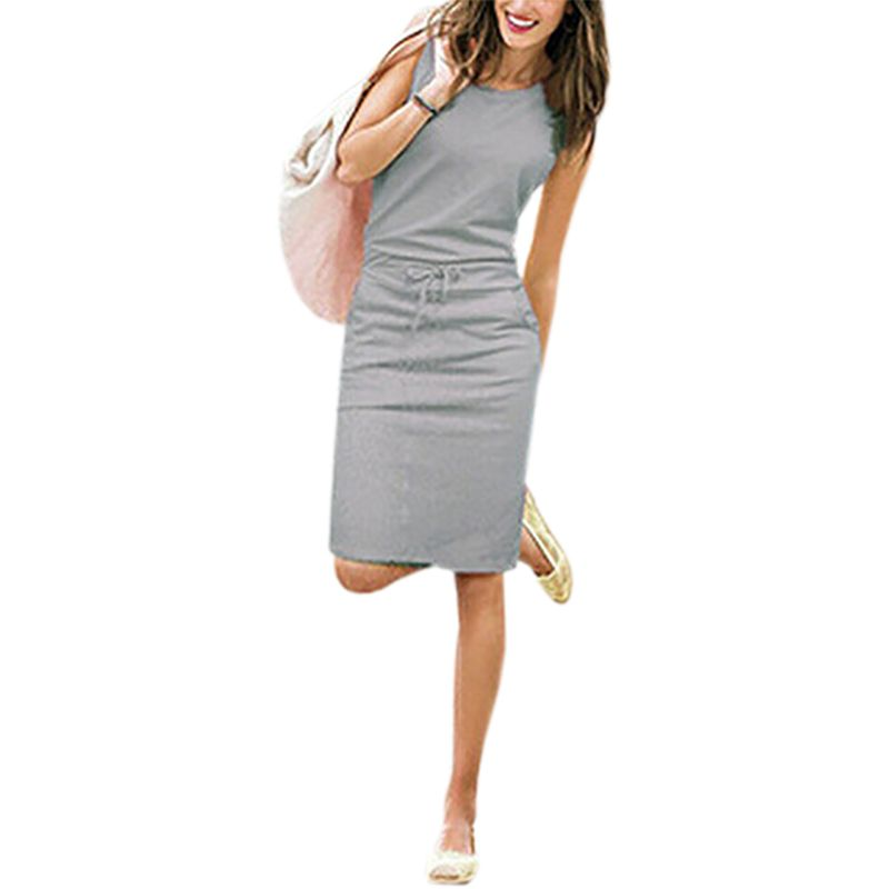 Sleeveless New Summer  Fashion Women Knee-Length Dresses Pockets With Belt Pencil Casual Female vest Dress J2218