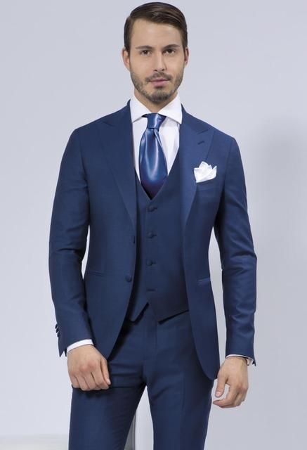 New Arrivals Two Buttons Blue Groom Tuxedos Groomsmen Mens Wedding Suits Prom Bridegroom (Jacket+Pants+Vest+Tie) NO:920