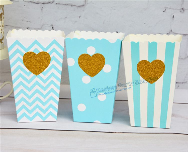 48pcs Glitter Gold Star Lover Heart Popcorn Box Blue Dot/Stripe/Chevron Boy's Party Favor Candy Goodie Bag Treat Snack Box
