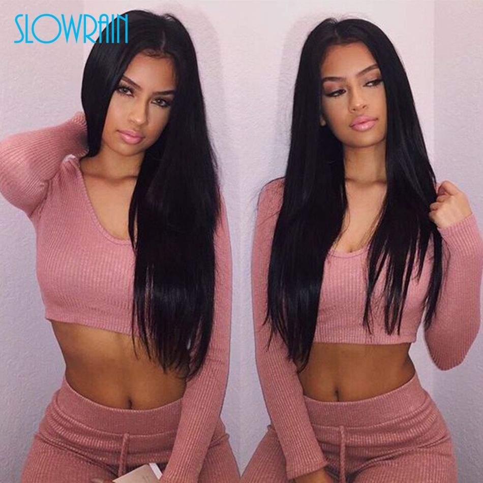 Straight Full Lace Wigs Virgin Brazilian Full Lace Human Hair Wigs Long Natural Black Silk Top Lace Front Wigs For Black Women