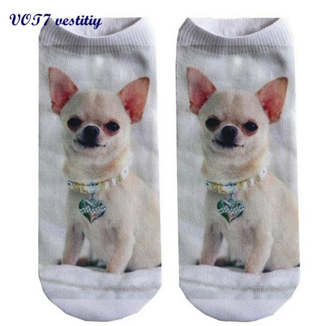 2017 Fashion VOT7 vestitiy 19cm*8cm(Elastic) 3D Printed Animal Women Casual Socks Cute Cat Unisex Low Cut Ankle Socks Sep 18