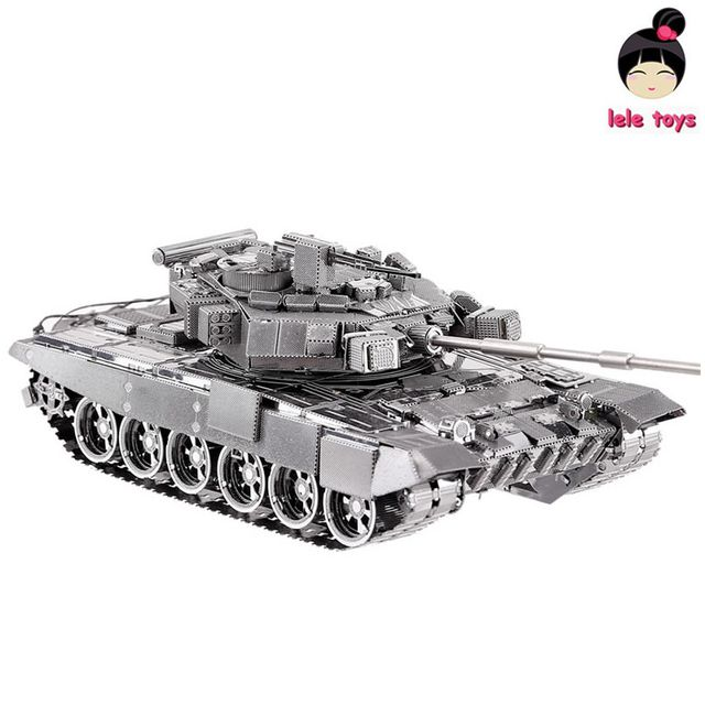 Chinese Metal Earth 3D Metal model kits 9 inch English version 90 Tank 2 Sheets Military Nano Puzzles DIY Creative gifts