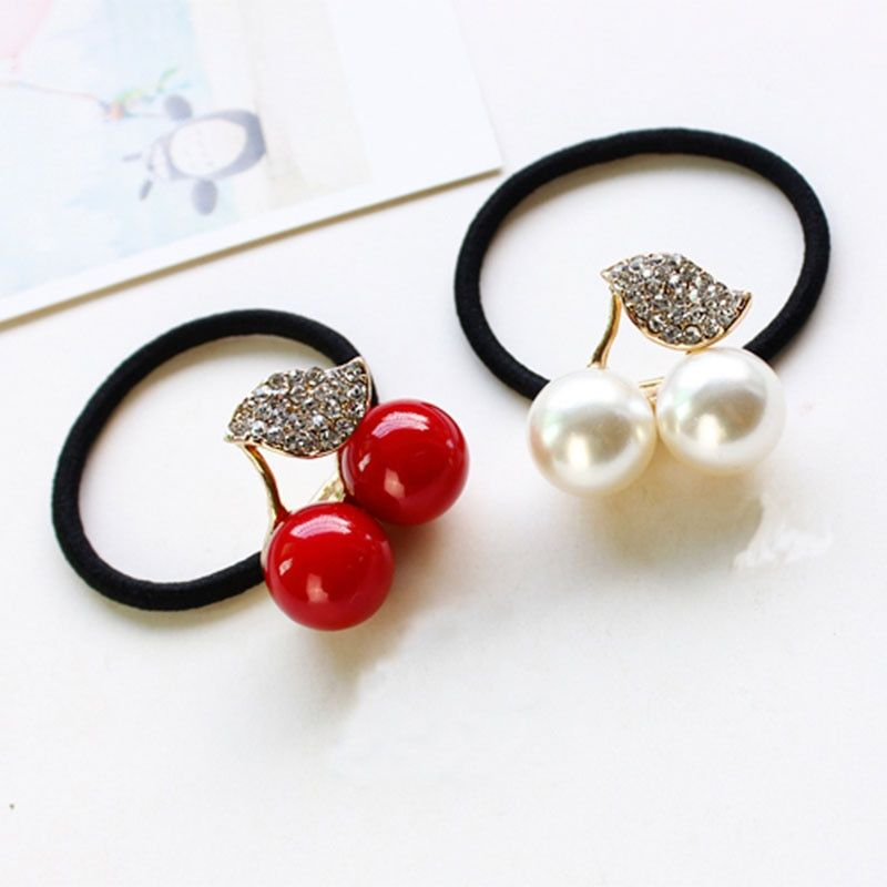 Red White Simulated Pearl Crystal Leaf Cherry Elastic Hair Rubber Bands Girls Hair Accessories for Women Headwear