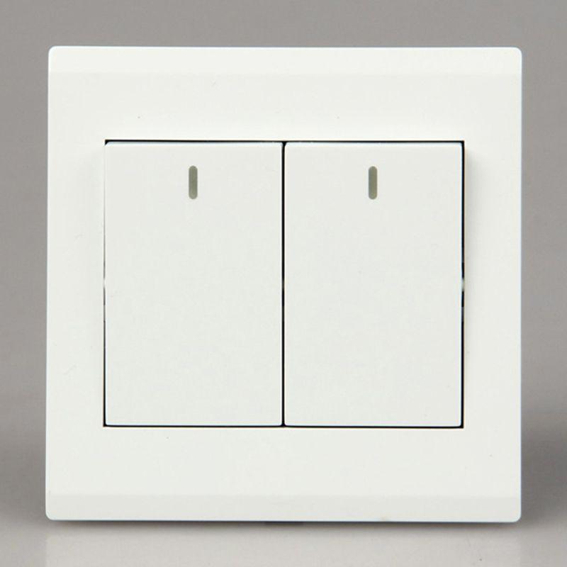 white wall panel switch button start stop lamp on off illuminated switches 16A 220V 90-260V Two open double control light switch