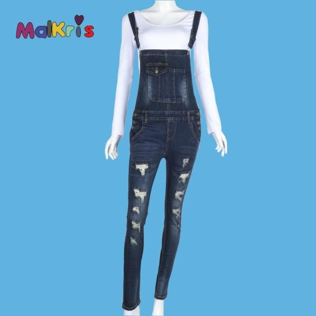 2016 Women Denim Jumpsuit Rompers Women's Jumpsuit Salopette Overalls Thinner Dungarees Jeans Vintage Hole Jeans Female Siamese