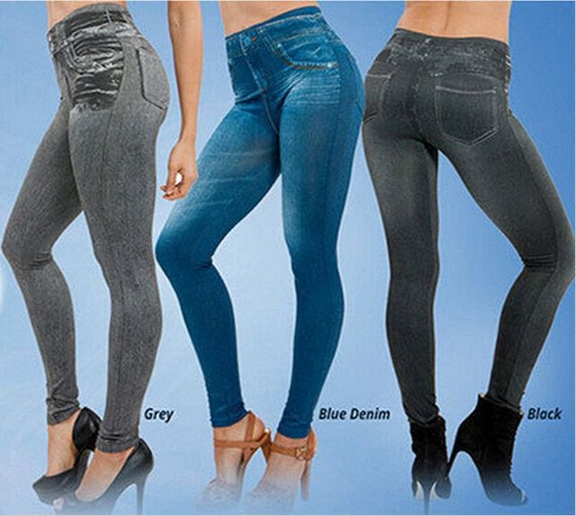 Plus Size Women Slim Leggings Jeans Legging Woman High Waist Jeggings Fitness Black Gray Girls Sexy Disco Pants KJG-1004
