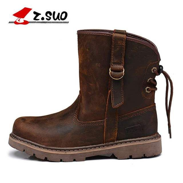 Z. Suo Men 's  Boots Fashionable Men's Genuine Leather Boots Western Leisure Winter Boots Dr Martins Italian Leather Boot Shoes