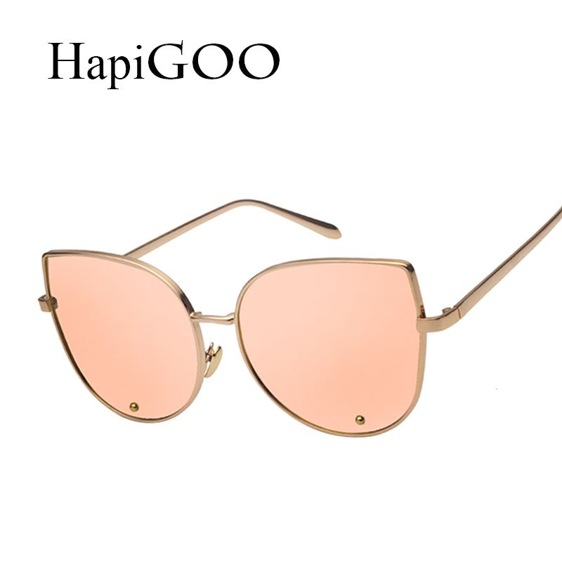 HapiGOO Fashion Cat Eye Sunglasses Women New Brand Designer Classic Retro Rose Gold Mirror Sun Glasses For Female UV400