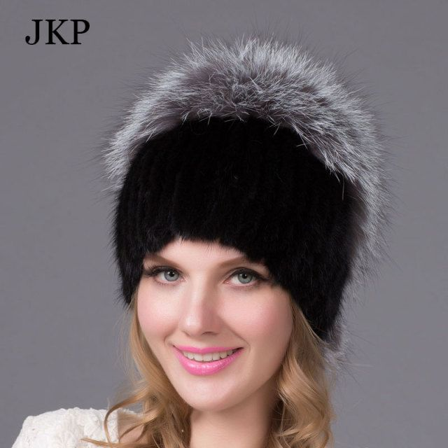 Warm Winter Fur Hat Genuine Mink Fur Cap with Fox Fur Ball Pom Poms Top Knitted Skullies 2015 Female Fur Headgear Beanies Cap