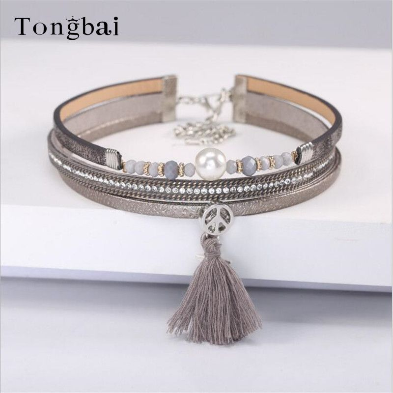 Tongbai New 2017 Women necklace&pendants  bohemia multilayer necklace collar tassel fringe tribal chokers necklace jewelry