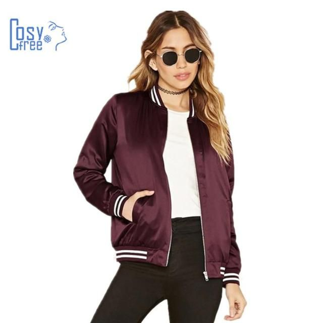 Southstore 2017 Fashion High Street Wine Red Brown Bomber Jacket Autumn Winter Caots for Women Zipper Jacket Outwear Basic Solid