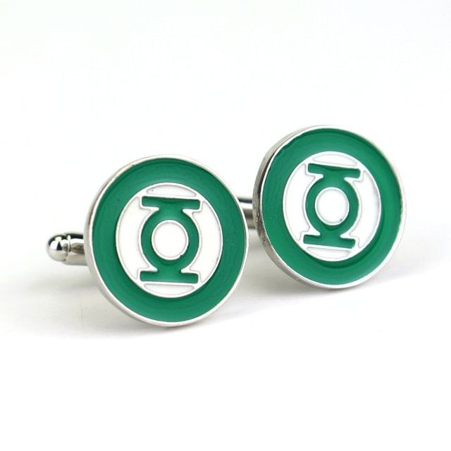 1.8 cm Metal Cufflinks Green Lantern Time Gem DC Comic France Cuff Links for Men Shirts Accessory Movie Jewelry Cuff Button