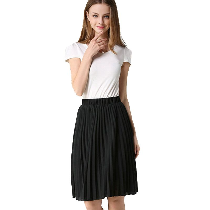 2017 New Summer Slim Solid Skirts Womens Slim Elegance Chiffon Hight Waist Fashion Casual Elastic Pleated College Style Saias